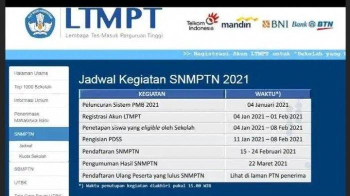 Pendaftaran SNMPTN 2021 Ditutup Besok 24 Februari, Berikut Tata Cara Daftar di portal.ltmpt.ac.id