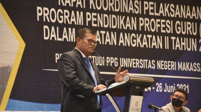 Guru Profesinal Menuju Indonesia Maju, Harapan Rektor UNM Saat Buka Rakor PPG