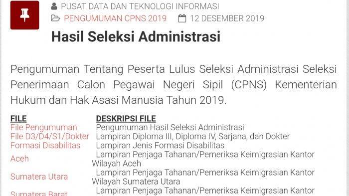 RESMI Diumumkan Hasil Seleksi Administrasi CPNS Kemenkumham SMA SMK, Cek di cpns.kemenkumham.go.id