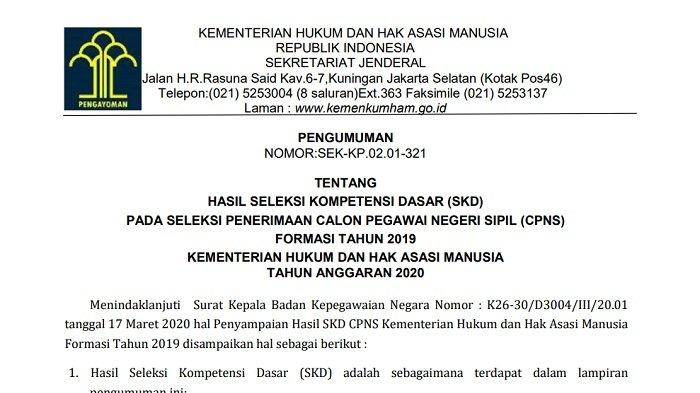 RESMI Hasil SKD CPNS 2019 Kemenkumham cpns.kemenkumham.go.id, Ada 8 Tautan, Download Semua di Sini