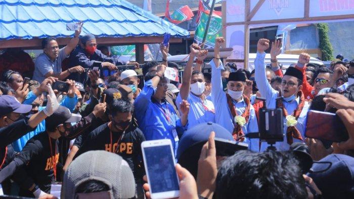 Ribuan Simpatisan Rahman Assagaf-Muammar Muhayang Padati Gedung Mutiara