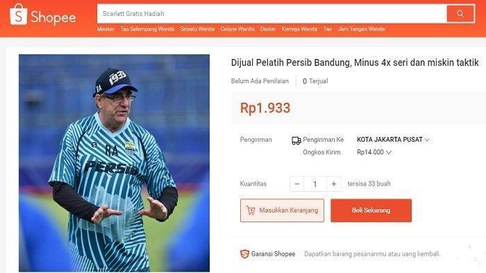Pelatih Persib Bandung Dijual di Toko Online, Penjual: Barang Second, Masih Layak Pakai