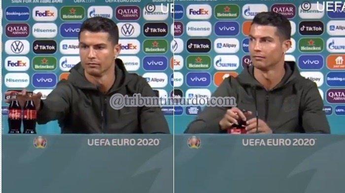 Aksi Cristiano Ronaldo Pindahkan Botol Coca Cola Berbuntut Panjang, UEFA Turun Tangan