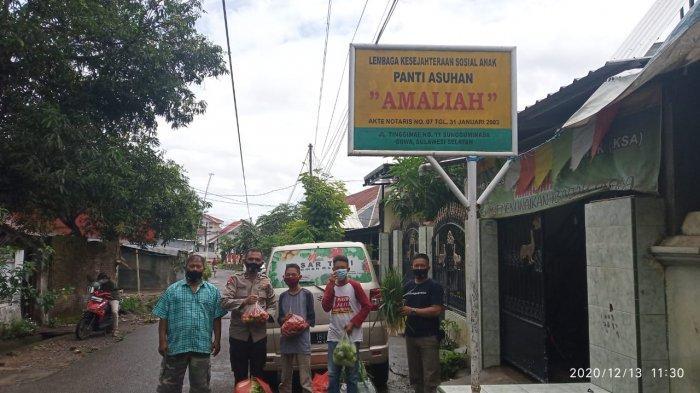 Rumah Koran dan Brimob Polda Sulsel Sedekah Sayur ke Panti Asuhan Amaliah