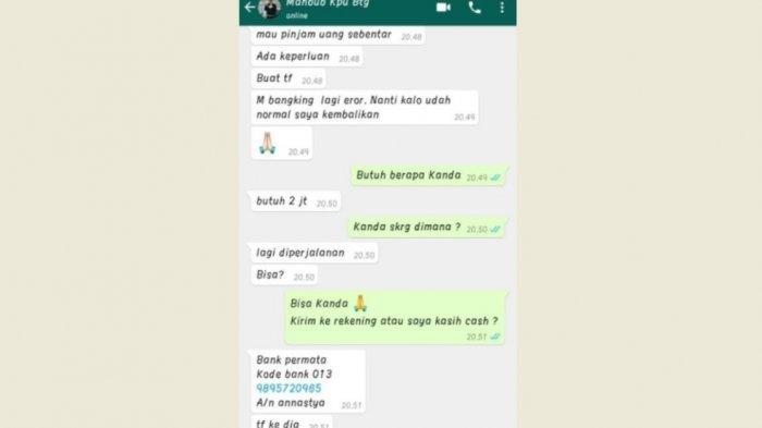 WhatsApp Kasubag Hukum KPU Bantaeng Diretas, Pelaku Minta Pinjam Uang Rp 2 Juta