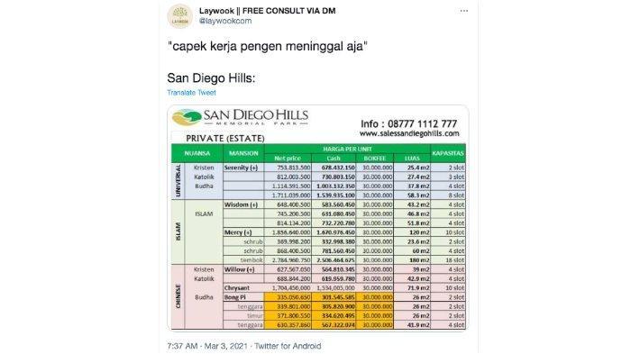 Screenshot kicauan pemilik akun @laywookcom soal San Diego Hills.