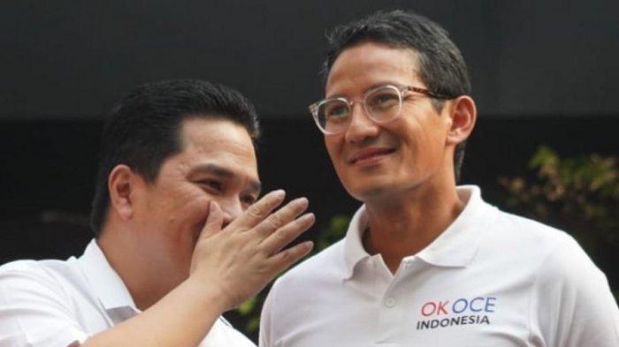 Akhirnya Bertemu Erick Thohir Pascapilpres, Sandiaga: Saya Sangat Terhormat Jadi Oposisi