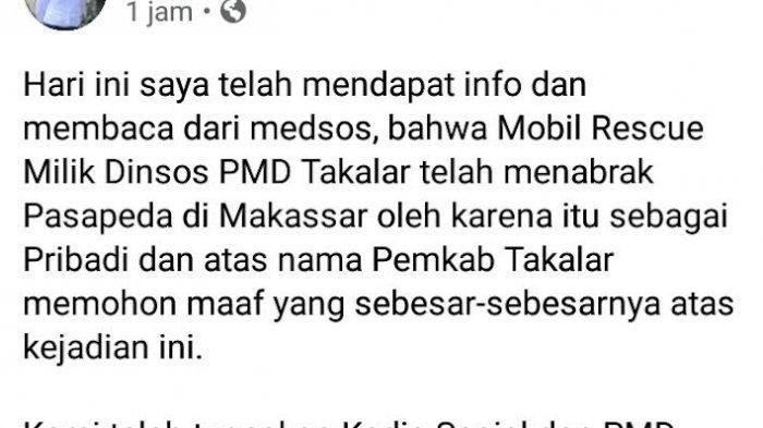 Randis Takalar Tabrak Pesepeda di Makassar, Syamsari Kitta Sampaikan Permohonan Maaf di Facebook