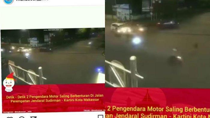 Tabrakan Motor Vespa vs Scoopy di Jl Jenderal Sudirman Makassar, Pengendara Terpental