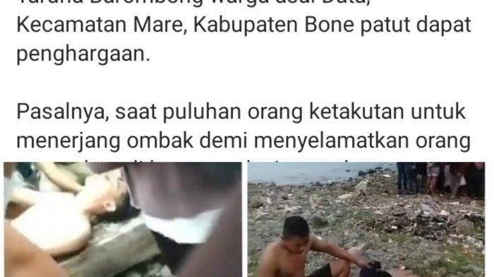 Viral, Aksi Heroik 2 Taruna Pelayaran Barombong asal Bone Selamatkan Orang Tenggelam