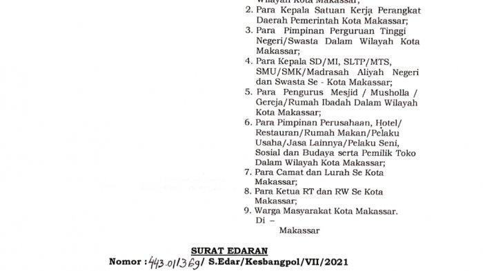 SE PPKM Wali Kota Makassar Ada 16 Poin, Satu di Antaranya Diimbau Tidak Berjamaah di Rumah Ibadah