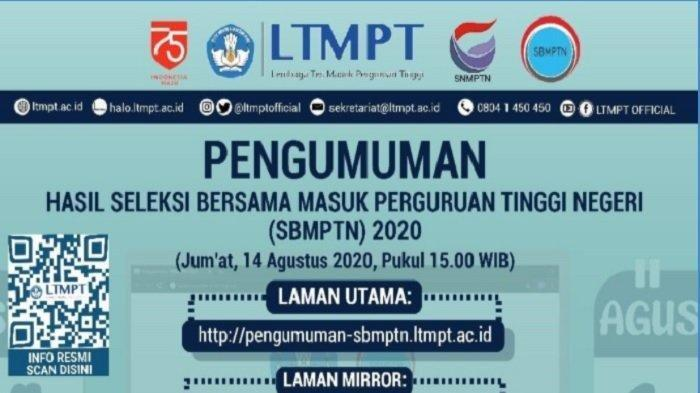Sebentar Lagi Hasil SBMPTN 2020 Diumumkan, Bisa Diakses di 13 LINK Resmi Ini Mulai Pukul 15.00 WIB