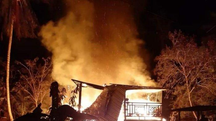 Kebakaran di Rubae Pinrang, Satu Rumah Hangus dan Tiga Motor Ikut Terbakar