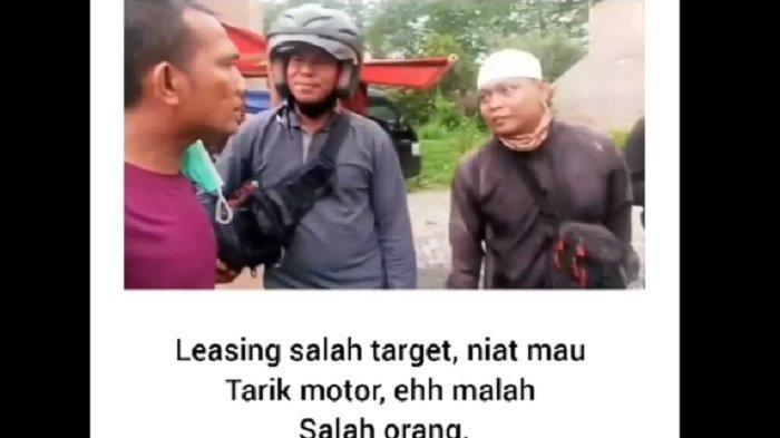 Sebuah video viral di media sosial (medsos) memperlihatkan empat orang debt collector yang salah sasaran ketika hendak menarik motor di jalan.