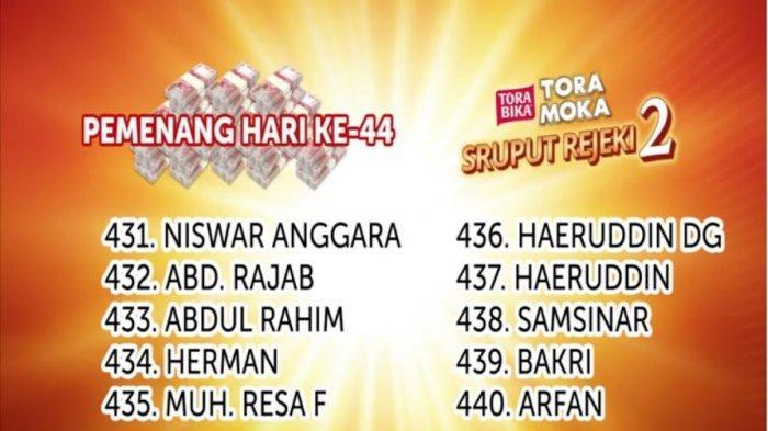 Selamat, Inilah Pemenang Undian Sruput Rejeki ToraMoka Hari 44 Masing-Masing Rp 500 Ribu