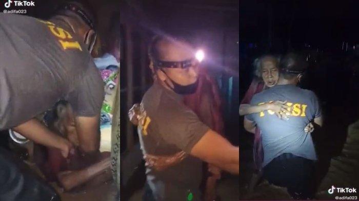 VIRAL Seorang Polisi Selamatkan Nenek di Tengah Banjir Kalsel, Sudah 1 Jam Terendam dan Menggigil