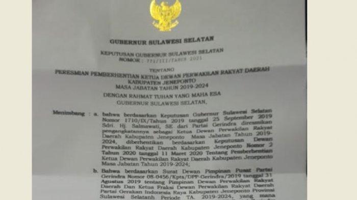 Ketua DPRD Jeneponto Hj Salmawati Diberhentikan