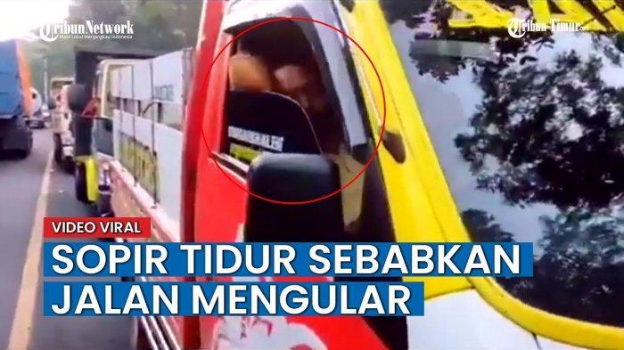 VIDEO Viral Sopir Truk Ketiduran Bikin Macet Jalanan, Sampai Harus Dibangunkan Polisi