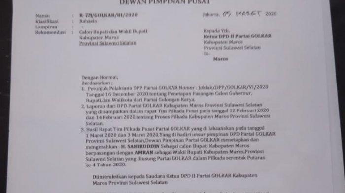 Beredar Surat Rekomendasi Golkar Usung Haji Sahiruddin, DPD Golkar Sulsel Mulai Tanggapi