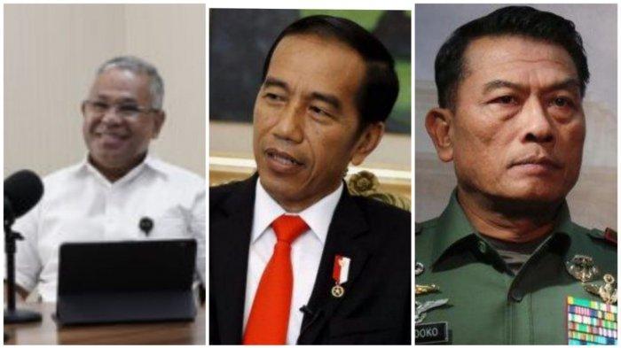 kolase foto Deputi I Kantor Staf Kepresidenan Febri Calvin Tetelepta bersama Presiden Joko Widodo dan Kepala KSP Moeldoko.