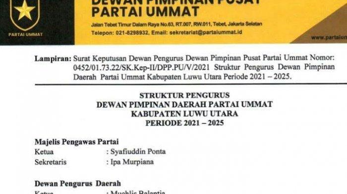 Berikut Pengurus DPD Partai Ummat Kabupaten Luwu Utara Periode 2021-2025, Ketua Muchlis Balantja