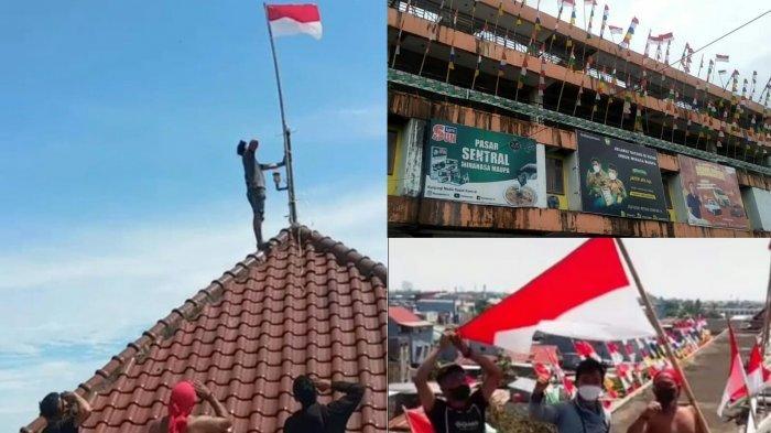 Viral di Medsos, Pedagang Pasar Induk Minasa Maupa Gowa Kibarkan Bendera di Atas Atap