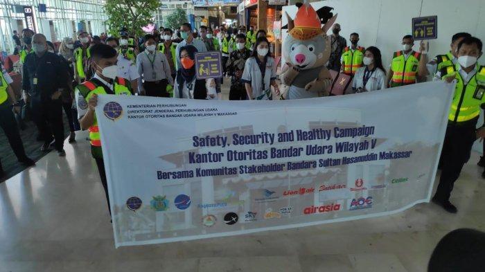 Maskot PON Papua Meriahkan Kampanye Keselamatan Penerbangan di Bandara Hasanuddin