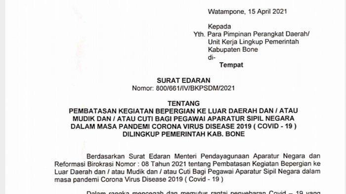 Sudah Ada Surat Edarannya, ASN di Kabupaten Bone yang Nekat Mudik Kena Sanksi