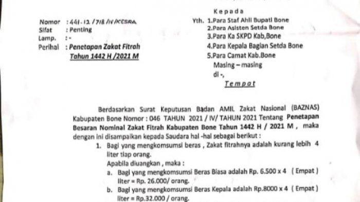 Besaran Zakat Fitrah Kabupaten Bone Ditetapkan Rp 26 Ribu