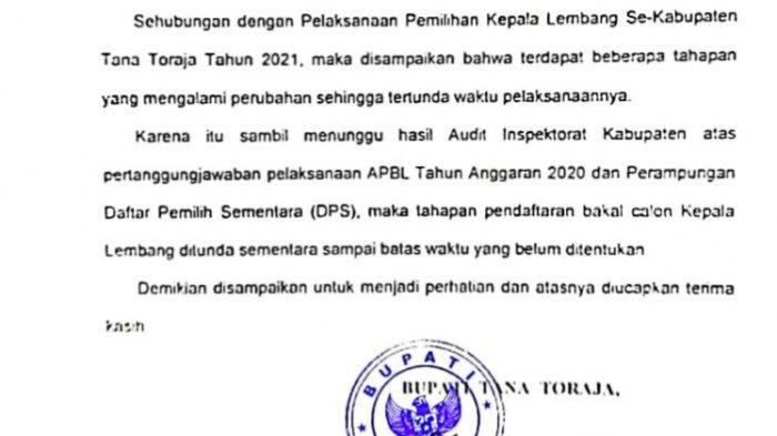 Tahapan Pemilihan Kepala Lembang di Tana Toraja Ditunda
