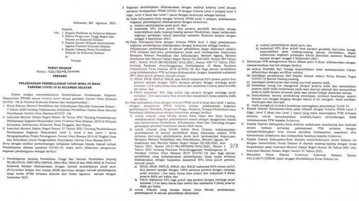 Belajar Tatap Muka Berdasarkan Level PPKM, Ini 7 Poin Surat Edaran Gubernur Sulsel