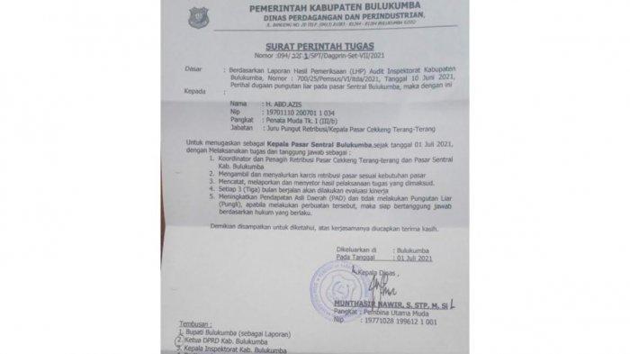 Pejabat Sebelumnya Dicopot, Kini Beredar Surat Tugas Abd Azis Jabat Kepala Pasar Sentral Bulukumba