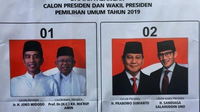 REKAPITULASI Suara Nasional: Data Masuk 27 Provinsi, Jokowi Ma'ruf 55,59% Prabowo-Sandi 44,41%