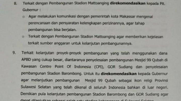 Ada 19 Rekomendasi DPRD ke Pemprov Sulsel, 2 di Antaranya Soal Stadion dan Masjid 99 Kubah