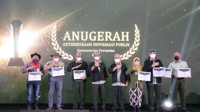 Menteri Pertanian, Syahrul Yasin Limpo dalam kegiatan Anugerah Keterbukaan Informasi Publik (KIP) tahun 2021 di Jakarta, Senin (11/10/2021).