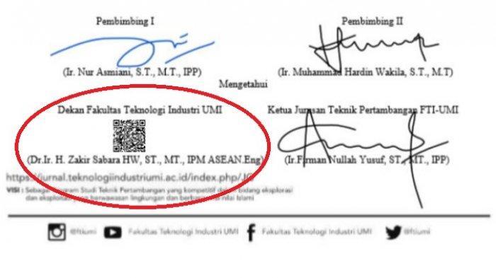 Tanda Tangan Digital Dekan FTI UMI, Dr Ir H Zakir Sabara HW ST MT IPM ASEAN Eng