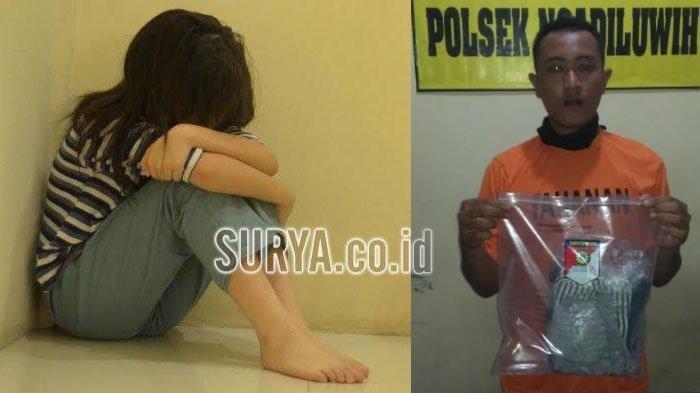 Tersangka pencabulan Maulana Iskak yang berkedok bikin konten YouTube (kanan) dan foto ilustrasi korban kekerasan seksual (kiri).