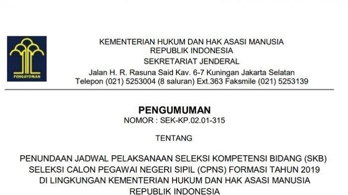 Tes SKB Ditunda, Hasil SKD CPNS 2019 Kemenkumham Tetap Diumumkan Hari Ini di cpns.kemenkumham.go.id