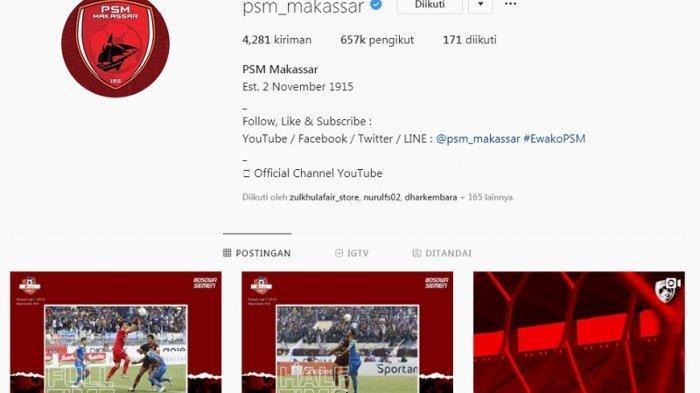 Tidak Update Lagi, Ternyata Instagram PSM Makassar Diretas, Postingan Terakhir Tentang Persib