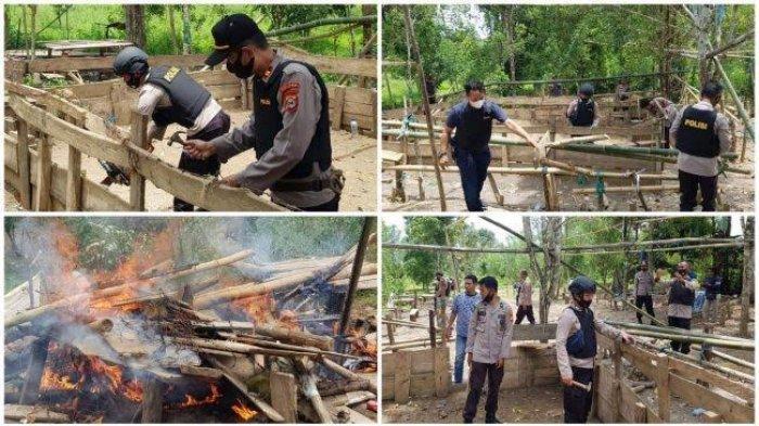 Polisi Bakar Tempat Sabung Ayam di Anrang Bulukumba