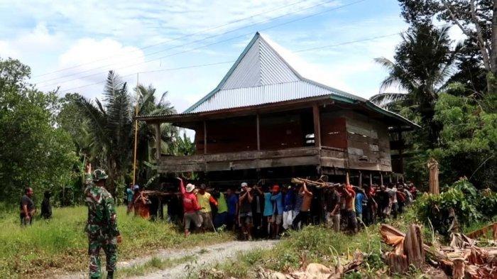 Semangat Gotong Royong, Begini Cara Warga Desa Pongo Masamba Memindahkan Rumah