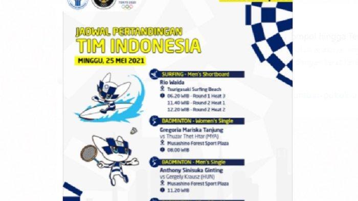 Update jadwal live Tim Indonesia hari ini, Live Streaming TV Online Olimpiade Tokyo kontingen Indonesia main hari ini