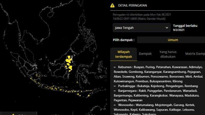 Rilis Resmi BMKG: Jawa Tengah dan Jatim Siaga Banjir Bandang 9 dan 10 Februari, Potensi Hujan Lebat