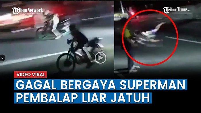 VIDEO Viral Aksi Pembalap Liar Jatuh setelah Gagal Bergaya Superman di Atas Motor