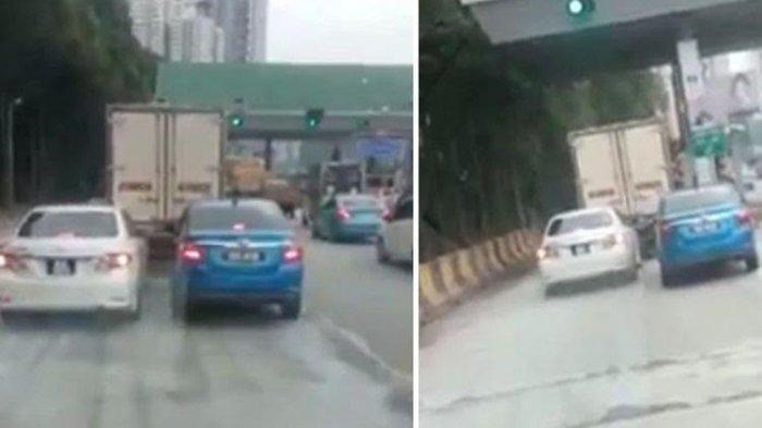 Viral Video 2 Mobil Rebutan Masuk Gerbang Tol Sampai Saling Pepet, Siapa yang Menang?