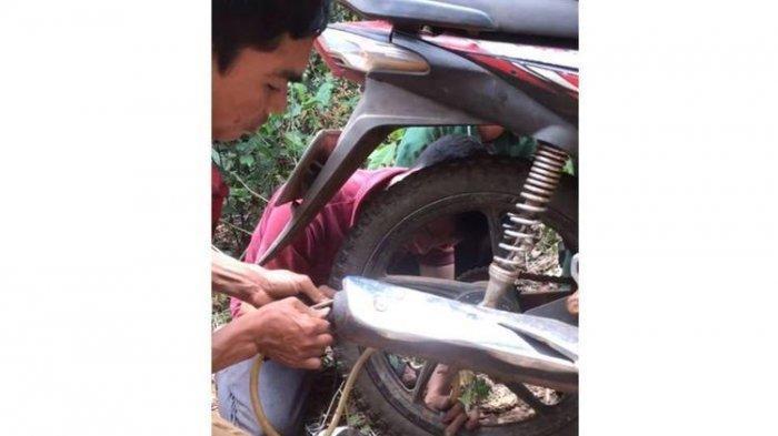 VIDEO Viral Pria ini Pompa Ban Motor Lewat Kompresi Pembuangan Knalpot, Apa Kata Dosen Teknik?