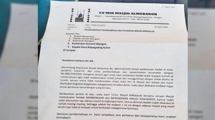 Beredar Isi Surat Masjid Mau Dirubuhkan Permintaan Warga Gara-gara Corona, Penjelasan Kepala Dusun