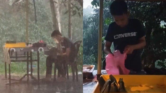 VIDEO Viral Pria Ini Borong Dagangan Penjual Gorengan yang Tak Laku saat Hujan Deras