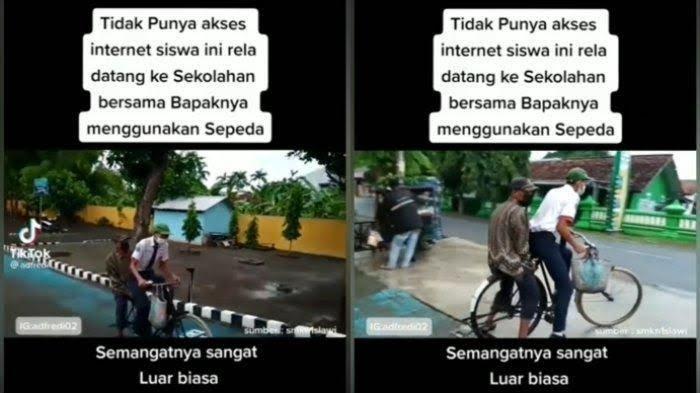 Fakta Video Viral Siswa Datangi Sekolah Naik Sepeda Bersama Ayah Karena Tak Punya Akses Internet