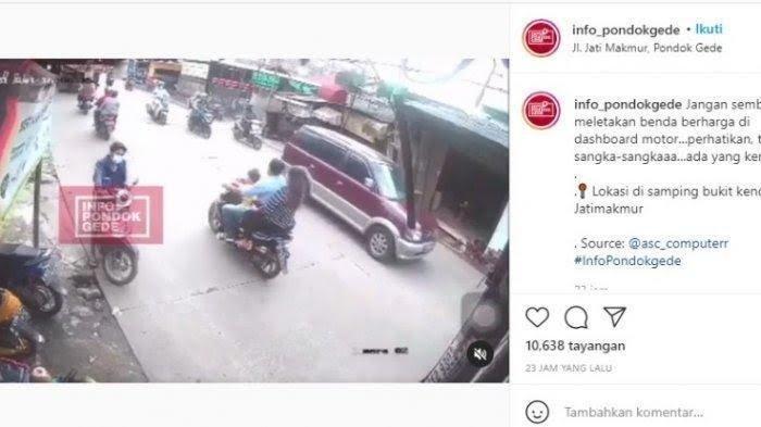 VIDEO Viral Pencuri Ajak Anak Istri Nyolong Ponsel di Dashboard Motor yang Terparkir